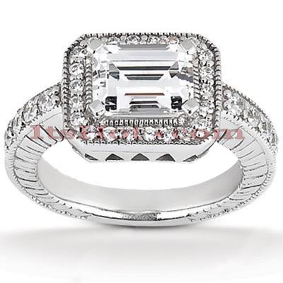 14K Gold Diamond Unique Engagement Ring 0.82ct