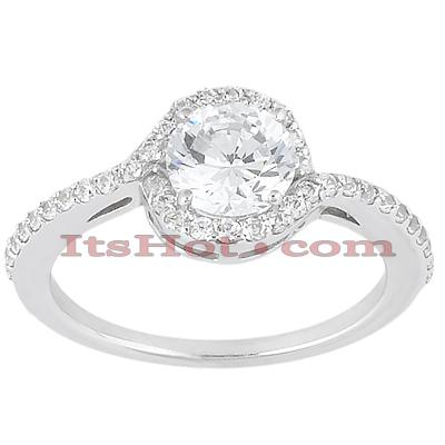 14K Gold Diamond Unique Engagement Ring 0.84ct