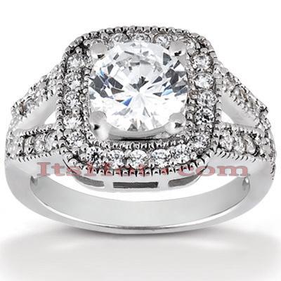 14K Gold Diamond Unique Engagement Ring 0.87ct