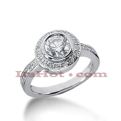 14K Gold Diamond Unique Engagement Ring 1.02ct