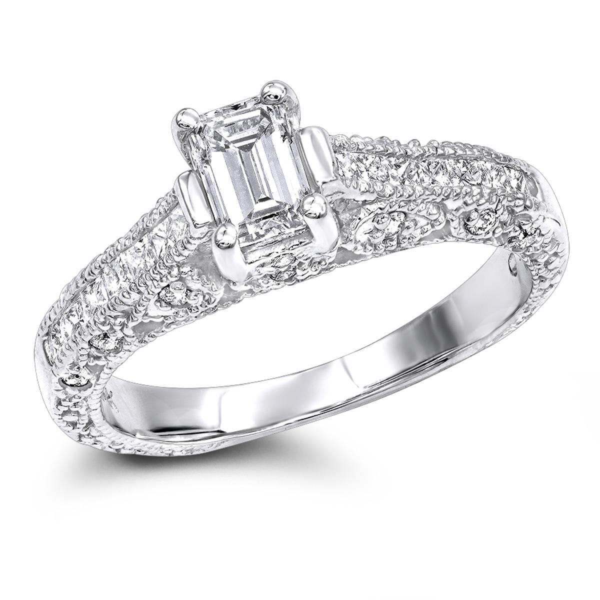 14K Gold Diamond Unique Engagement Ring 1.08ct