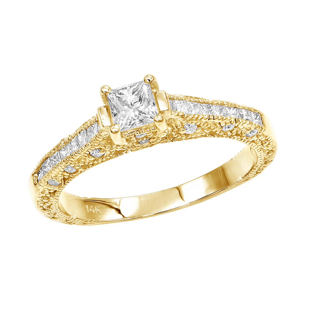 Thin 14K Gold Diamond Unique Engagement Ring 1.10ct