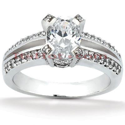 14K Gold Diamond Unique Engagement Ring 1.17ct