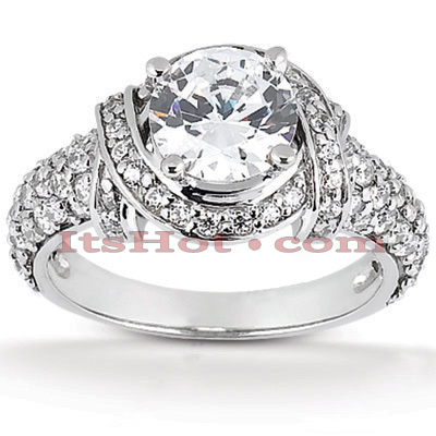 14K Gold Diamond Unique Engagement Ring 1.19ct
