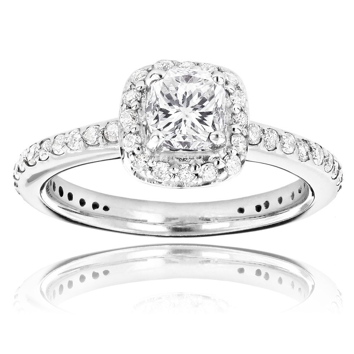 14K Gold Cushion Cut Diamond Unique Engagement Ring 1.22ct Halo Design