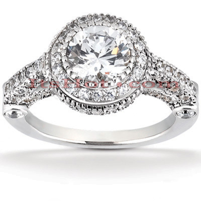 14K Gold Diamond Unique Engagement Ring 1.23ct
