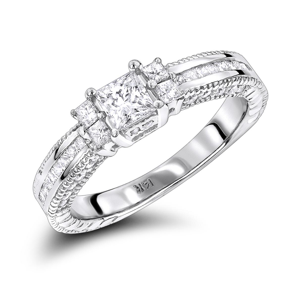 14K Gold Diamond Unique Engagement Ring 1.24ct