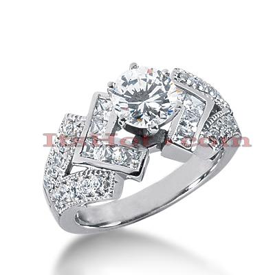 14K Gold Diamond Unique Engagement Ring 1.30ct