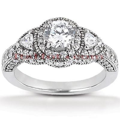 14K Gold Diamond Unique Engagement Ring 1.34ct