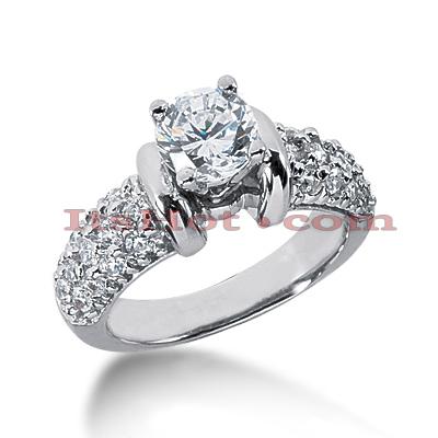 14K Gold Diamond Unique Engagement Ring 1.36ct