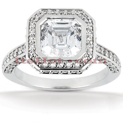 14K Gold Diamond Unique Engagement Ring 1.42ct Halo