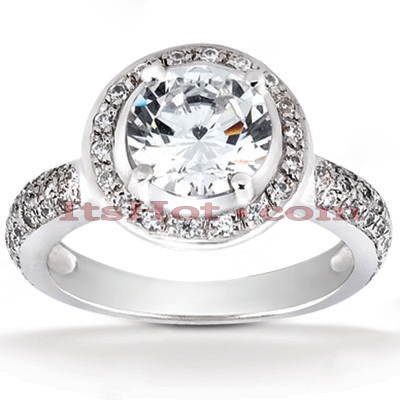 14K Gold Diamond Unique Engagement Ring 1.44ct