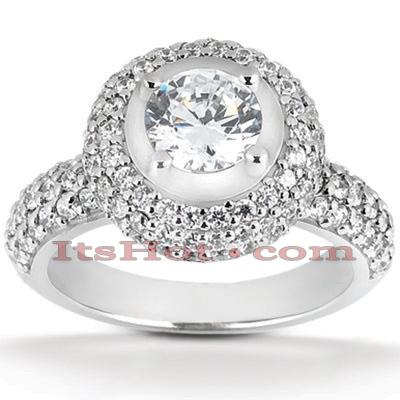 14K Gold Diamond Unique Engagement Ring 1.56ct
