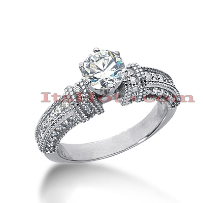 14K Gold Diamond Unique Engagement Ring 1ct