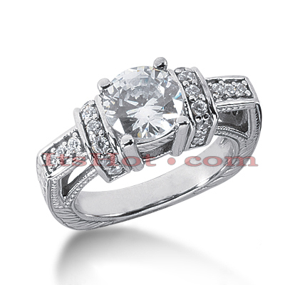 14K Gold Diamond Unique Engagement Ring 2.11ct