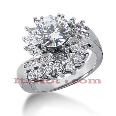 14K Gold Diamond Unique Engagement Ring 2.12ct