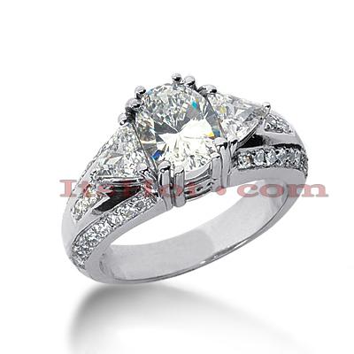 14K Gold Diamond Unique Engagement Ring 2.54ct
