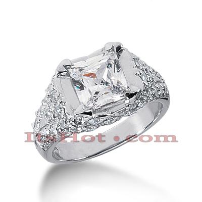 14K Gold Diamond Unique Engagement Ring 2.56ct