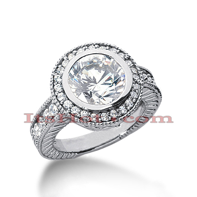 14K Gold Diamond Unique Engagement Ring 2.94ct