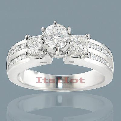 14K Gold Diamond Unique Engagement Ring 3.16ct