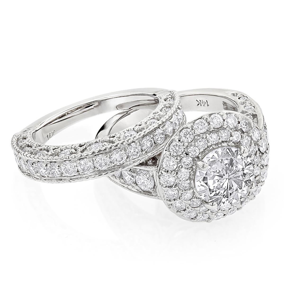14K Gold Diamond Unique Engagement Ring Mounting Set 3ct