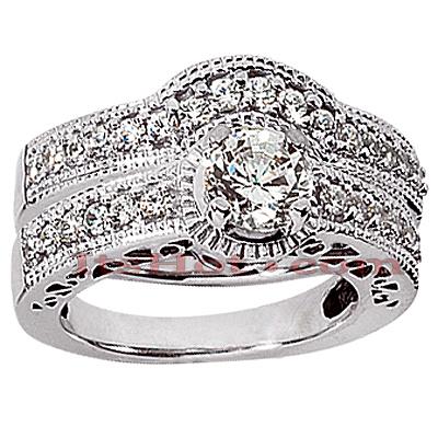 14K Gold Diamond Unique Engagement Ring Set 0.56ct