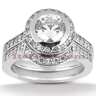 14K Gold Diamond Unique Engagement Ring Set 0.58ct