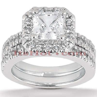 14K Gold Diamond Unique Engagement Ring Set 0.69ct