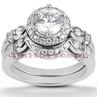 14K Gold Diamond Unique Engagement Ring Set 0.75ct