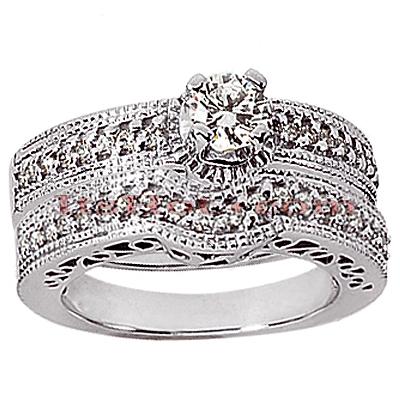 14K Gold Diamond Unique Engagement Ring Set 0.86ct