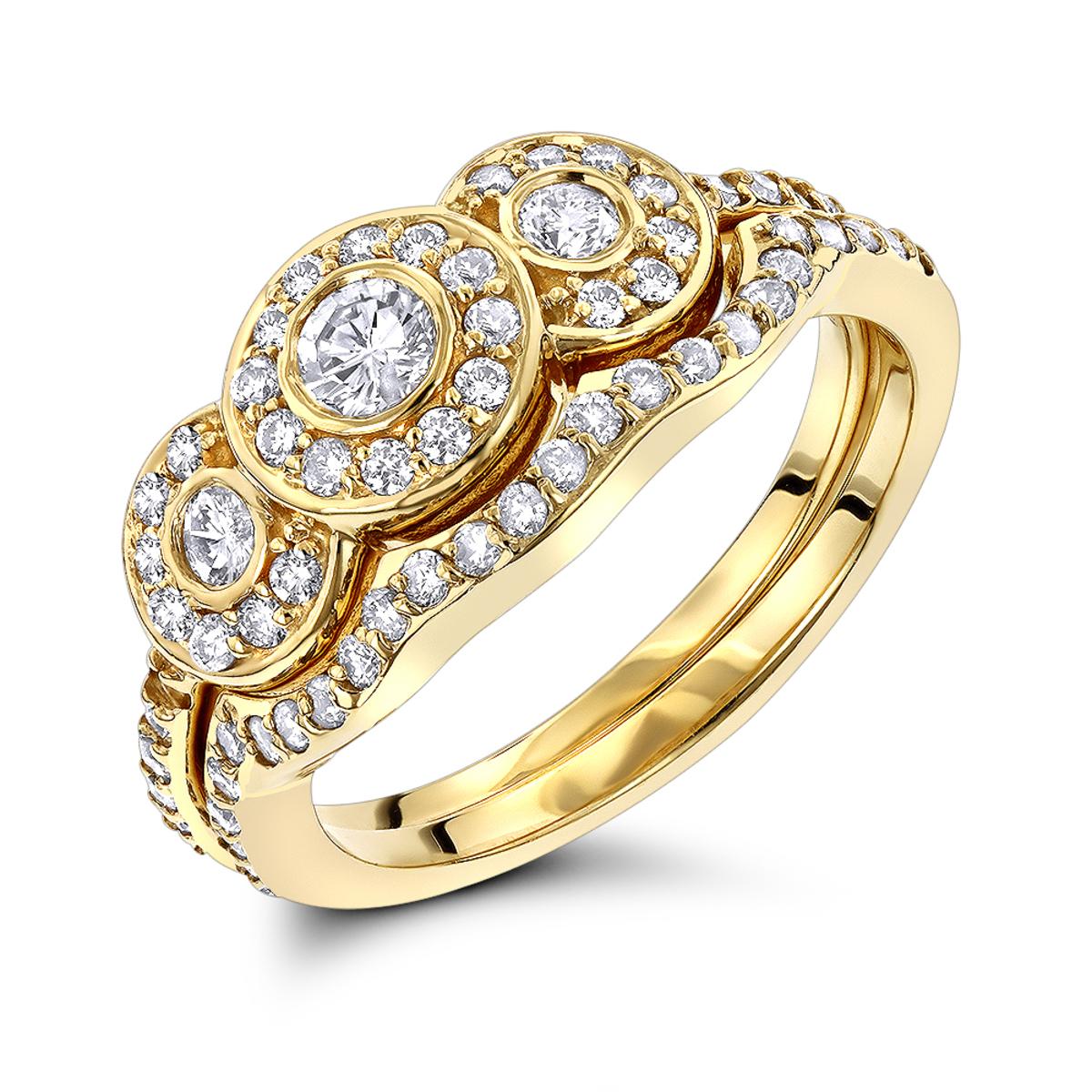 14K Gold Diamond Unique Engagement Ring Set 0.90ct