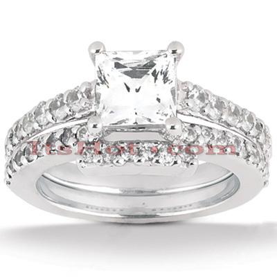 14K Gold Diamond Unique Engagement Ring Set 0.94ct