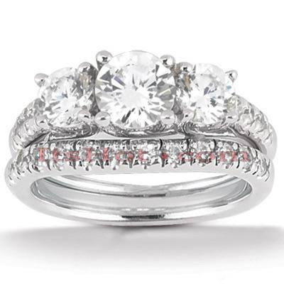 14K Gold Diamond Unique Engagement Ring Set 0.98ct
