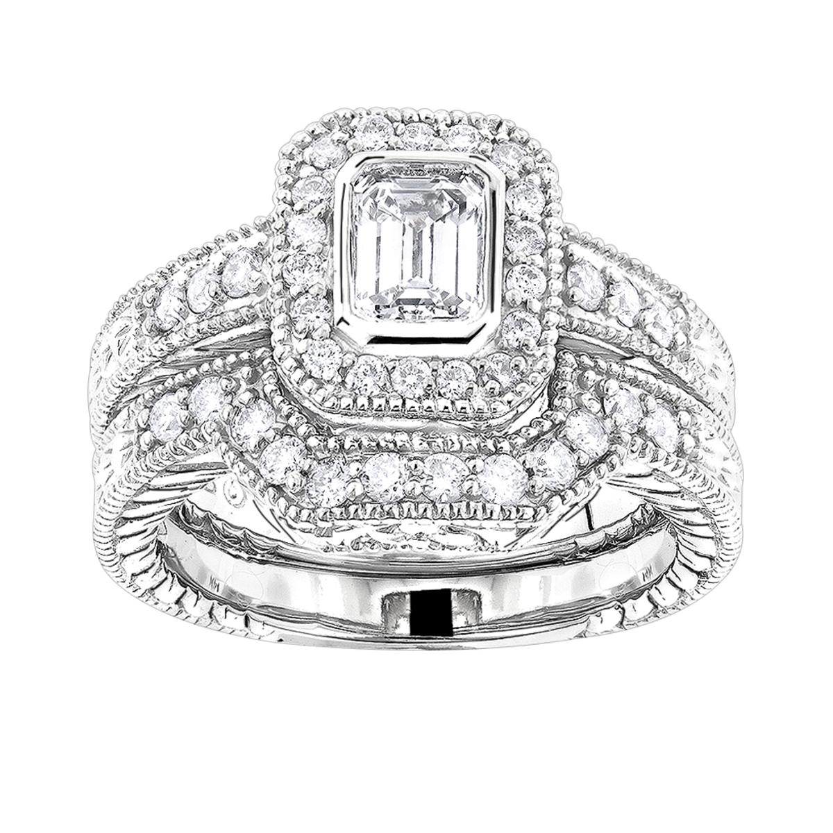 14K Gold Diamond Unique Engagement Ring Set 1.03ct