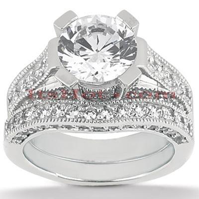 14K Gold Diamond Unique Engagement Ring Set 1.17ct