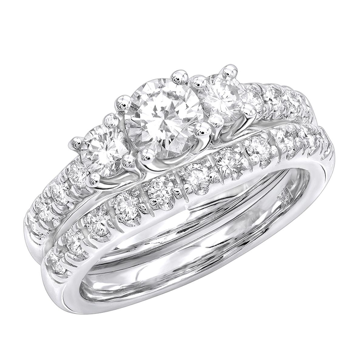 14K Gold Diamond Unique Engagement Ring Set 1.28ct