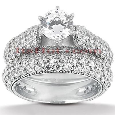 14K Gold Diamond Unique Engagement Ring Set 1.95ct