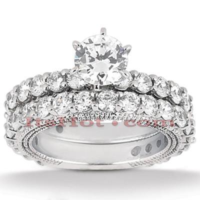 14K Gold Diamond Unique Engagement Ring Set 2.75ct
