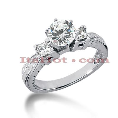 14K Gold Diamond Vintage Engagement Ring 0.84ct