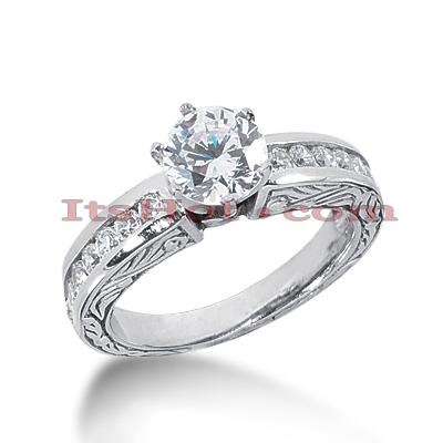 14K Gold Diamond Vintage Engagement Ring 0.92ct