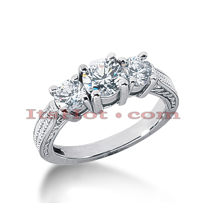 14K Gold Diamond Vintage Engagement Ring 1.41ct