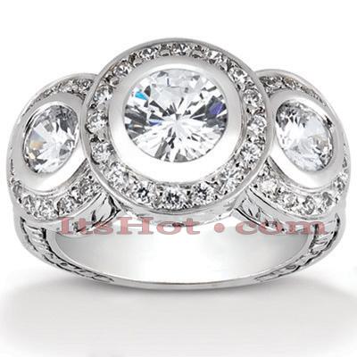 14K Gold Diamond Vintage Engagement Ring 1.42ct