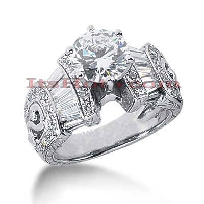 14K Gold Diamond Vintage Engagement Ring 1.70ct