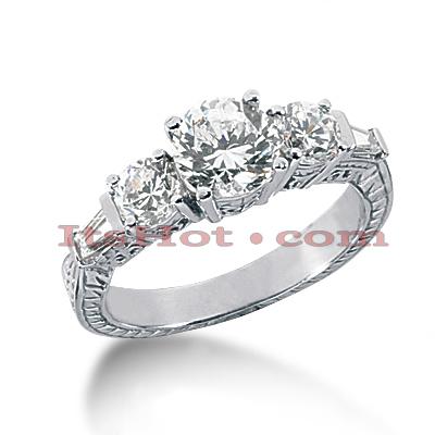 14K Gold Diamond Vintage Engagement Ring 1.84ct