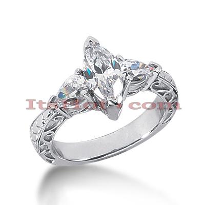 14K Gold Diamond Vintage Engagement Ring 2.25ct