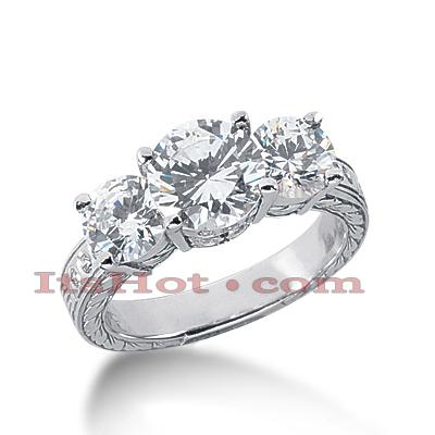 14K Gold Diamond Vintage Engagement Ring 3.12ct