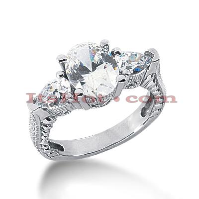 14K Gold Diamond Vintage Engagement Ring 3ct