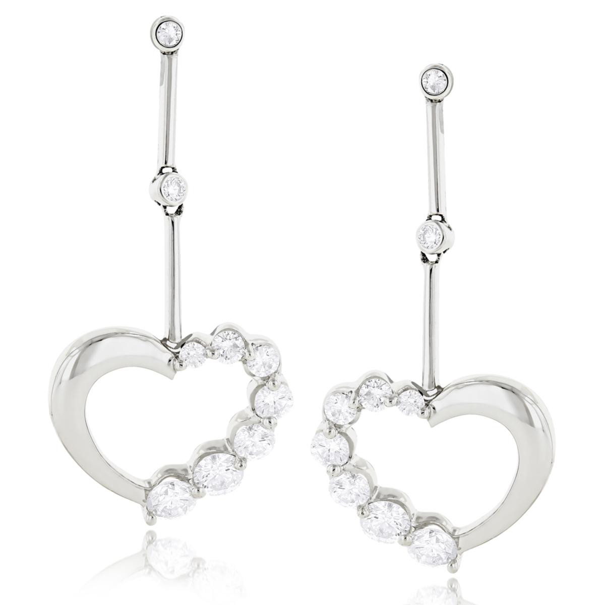 14k Gold Diamond Womens Heart Earrings 1.1 ctw.