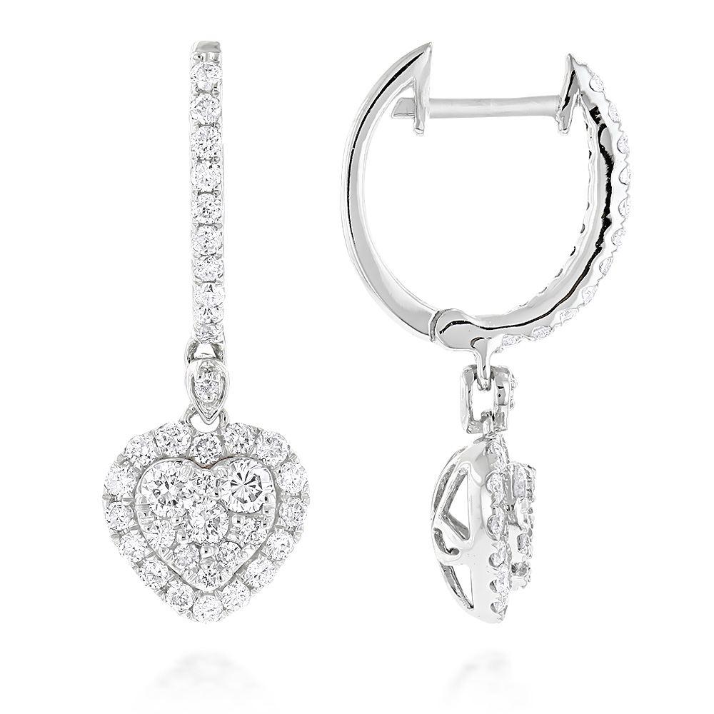 14K Gold Drop Diamond Heart Earrings Hoop Dangles by Luxurman 1 carat