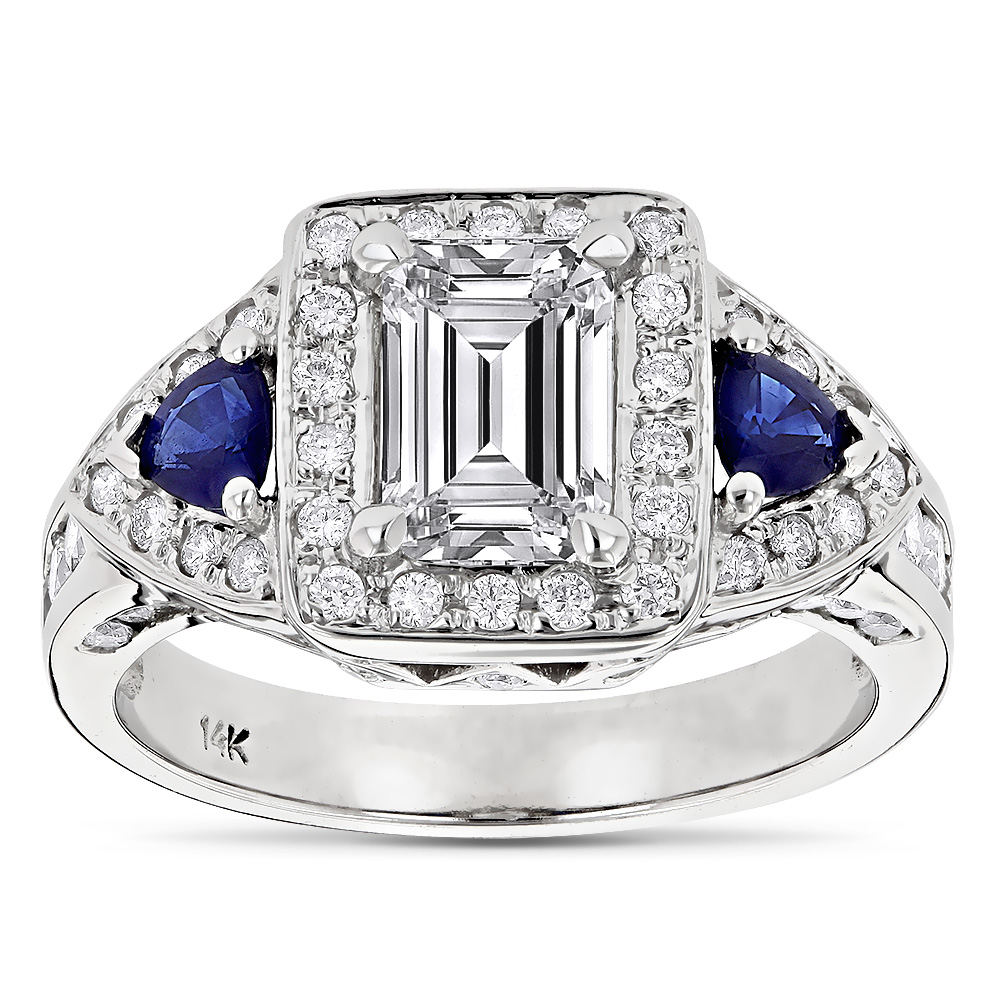 14K Gold Emerald Diamond Sapphire Unique Engagement Ring 2.5ct by Luxurman